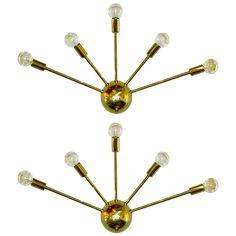 1stdibs.com | Large Pair of Brass Sputnik Sconces