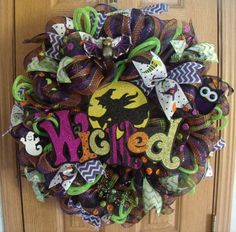 Halloween Wicked Witch Multicolor Deco Mesh Wreath