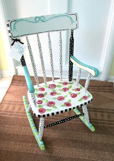 Wonderful Painted Child Rocking Chair, Girl Rocking Chair, Baby Shower Gift , Personalized  Child Rocker, Rose Rocking Chair,Child Wooden Rocking Chair