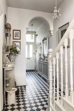 Treasure trove - monochrome tiles bring the victorian hallway to life house House Design, House, Home, Victorian Homes, Victorian Hallway, Vintage House, New Homes, House Interior, Hall Tiles