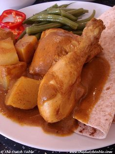 The Dutch Table: Roti (Curried chicken with beans and potatoes) Traditional Dutch Recipes, Stuffing Casserole, Vegetarian Recipes, Cooking Recipes, Asian Grocery, Danish Food, Breakfast Items, Dutch Food, Entrees