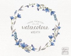 Watercolor wreath: painted floral wreath clipart / Wedding | Etsy