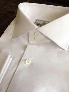 Solid White Tailored Executive Shirt Stylish Mens Fashion, Mens Fashion Suits, Men's Fashion, Shirt Tie Combo, High Collar Shirts, Savile Row, Gentleman Style, New Wardrobe, Cool Shirts
