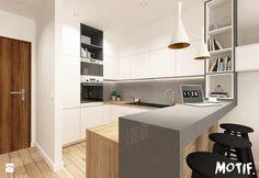 Tamka 29- I propozycja - Średnia otwarta kuchnia w kształcie litery u w kształcie litery g w aneksie z wyspą, styl skandynawski - zdjęcie od MOTIF