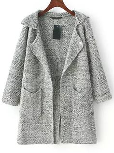 Cárdigan solapa manga larga bolsillos -gris 26.53