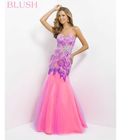Blush 2014 Prom Dresses - Lilac & Hot Pink Strapless Embroidered Long Prom Gown - Unique Vintage - Prom dresses, retro dresses, retro swimsuits.