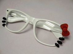 Hello Kitty Nerd Glasses with Bow and Whiskers -White Frames~ LOVE LOVE LOVE I WANT THIS!