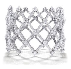 Harry Winston Open Lattice Bracelet #round #diamonds