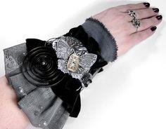 Steampunk Cuff - Vintage Textile Art Wrist Cuff - Neo Victorian BLACK | edmdesigns - Accessories on ArtFire