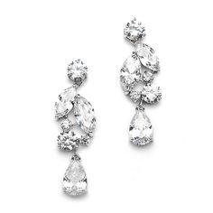 Top Value Cubic Zirconia Mosaic Wedding Earrings with Teardrop