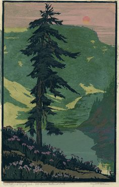 Elizabeth Colborne: Table Mountain, Mt. Baker Nat. Park, 1928, color woodcut; paint in this style for big murals, almost a paint by numbers style?