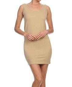 d42de4eff0 Beige Sleeveless Bodycon Dress - Plus Too  zulilyfinds