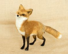 Jake the Red Fox: Needle felted animal sculpture by TheWoolenWagon