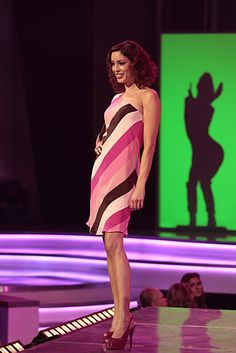 Pink Stripe Asymmetric Dress  This boldly striped one-shoulder silhouette is cut on the bias for extra swing.  #FashionStar / Fashion Star