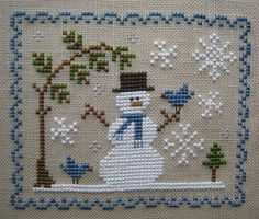 Cross Stitch Chart prairie schooler - CUTE SNOWMAN WITH BLUEBIRD, UNDER AN EVERGREEN