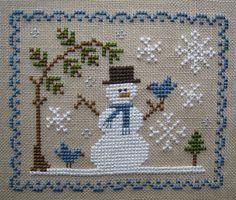 Cross Stitch Chart prairie schooler - CUTE SNOWMAN WITH BLUEBIRD, UNDER AN EVERGREEN