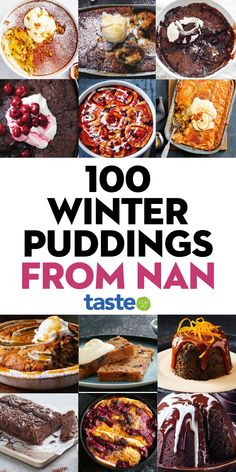 From classic sticky toffee puds to self-saucing lemon delicious, here are the top 100 winter desserts Nan taught us to make. #puddings #nan #dessert #baking #sweets #winterrecipes #retrorecipes #classicrecipes #oldschoolrecipes #australia #australian #australianrecipes Ic Recipes, Recipe Sites, Retro Recipes, Cake Recipes, Dessert Recipes, Cooking Recipes, Winter Desserts, Easy Desserts, Self Saucing Pudding