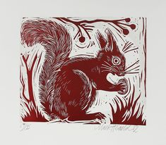 Squirrel linocut by Mark Hearld Art And Illustration, Glasgow School Of Art, Royal College Of Art, Tampons, Linocut Prints, Collage Art, Printmaking, Art Projects, Moose Art