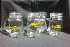Jack Daniels Lynchburg Lemonade Original Recipe Mason Jar Glass Mugs Set of 4 #JackDaniels