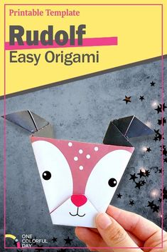Super Easy Origami Rudolf! Make this this adorable Rudolf craft with given templates and video tutorials. A great Christmas craft for kids! Christmas Crafts For Kids, Christmas And New Year, Winter Christmas, Kids Crafts, Crafts To Make, Easy Origami For Kids, Origami Easy, Printable Crafts, New Years Party