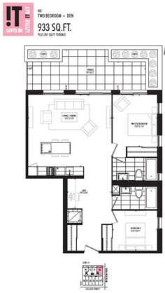 terrace with greenery, good sightlines, compact kitchen, only alteration I would suggest is removing the ensuite bath (GASP) YES! 2 full baths are completely unnecessary, and you gain a large principle bedroom by doing so. IT Lofts 933 Suite