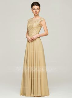 ... Neck Floor-Length Beading Sequins Zipper Up Cap Straps Sleeveless No  2015 Gold Spring Summer Fall General Plus Chiffon Lace Mother of the Bride  Dress b1d41a5ebba2