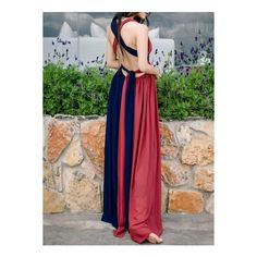 Color Block Sleeveless Long Prom Dress (225 DKK) ❤ liked on Polyvore featuring dresses, color block maxi dresses, sleeveless long dress, v neck dress, prom dresses and v-neck dresses
