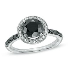 2-3/4 CT. T.W. Enhanced Black and White Diamond Frame Ring in 10K White Gold - View All Jewelry - Gordon's Jewelers