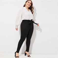 Plus Frill Belted Solid Pants Plus Size Pants, Tie Neck Blouse, Corduroy Skirt, Tops For Leggings, Fashion Updates, Hot Pants, Striped Shorts, Printed Skirts, No Frills