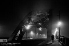 Fog on the Tyne Street photography: man walking across the tyne bridge through the fog in between Gateshead and Newcastle upon Tyne Newcastle, Street Photography, Family History
