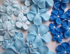 Shades of blue royal icing flowers -- Ombre -- Cake decorations cupcake toppers (50 pieces) by SweetSarahsBoutique on Etsy