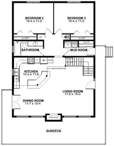 First Floor Plan of A-Frame   Vacation   House Plan 99961
