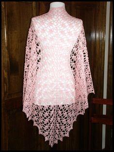 """Wisteria"" crocheted shawl in Blush fingering weight yarn (100% Peruvian wool), 65""W x 39""L (pattern by Vicki Mikulak ), $60."