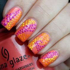 China Glaze Summer Neons Collection: Pink Plumeria, Sun-Kissed, Orange You Hot? and Beach Cruise-r Love Nails, Pink Nails, Glitter Nails, Dot Nail Art, Polka Dot Nails, Polka Dots, Art Nails, Nail Polish Designs, Cool Nail Designs
