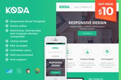 KODA - Responsive Email Template by Maesto on Creative Market #email #newsletter #template #marketing
