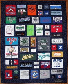 Shanny...definitely my fav for B!! I like the black background behind each shirt...makes it stand out :) how to make a t-shirt quilt. by fannie