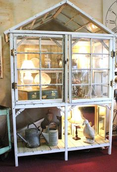 Display cabinet made from old windows