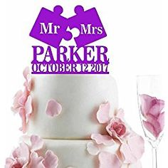Mr - Mrs Puzzle Personalized Wedding Cake Topper Last Name Date Solid Colors Personalized Wedding Cake Toppers, Wedding Cakes, Make It Yourself, Solid Colors, Puzzle, Wedding Ideas, Wedding Gown Cakes, Puzzles, Cake Wedding