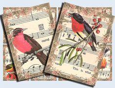 Singing birds digital collage sheet