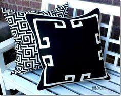 18 Greek Key Aegean Fretwork Black and White Pillow by thfabricate