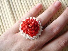Japanese Flag Duct Tape Rose Ring - Japan Duck Tape Ring