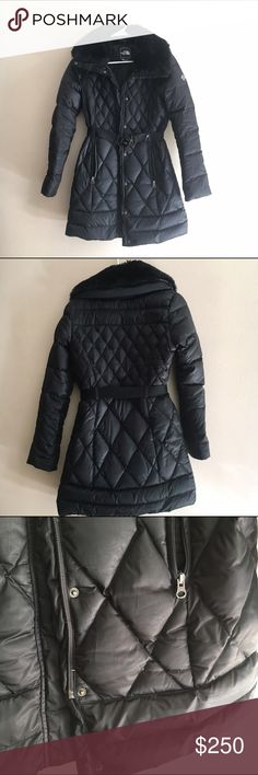 The North Face Apres Parkina Down Jacket Small Preloved, in great shape. See pic to reference where some of the down is showing. This gorgeous, quilted jacket is filled with 600 fillwater-resistant down. Adjust to a changing climate with the convenient, stowable hood. Designed with a stylish oversized collar, a flattering belt and removable faux-fur collar, Center front zip closure with snap. Metal logo rivet at left bicep embroidered logo at back right shoulder Materials: Body: 100%…