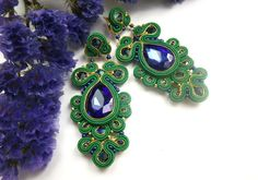 Peacock Soutache earrings Stud earrings Soutache от JaneEJewelry