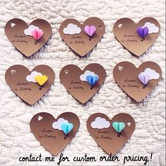 Heart Hot Air Balloon Gift Tags Set of 12 by theadoration on Etsy