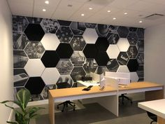 The hexagonal shape of Vixagon matches perfectly in this Office. Different Aesthetics, Workspaces, Cushions, Ceiling Lights, Shapes, Wall, Design, Home Decor, Throw Pillows