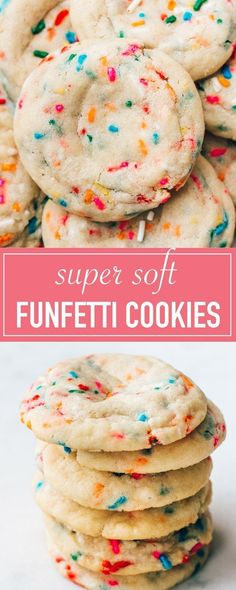 The Best Funfetti Cookies (Super Soft! The BEST recipe for soft funfetti sugar cookies. They are chewy, dotted with sprinkles, and have an amazing buttery vanilla flavor. Festive and perfect for birthdays! Sugar Cookies With Sprinkles, Chewy Sugar Cookies, Sprinkle Cookies, Sugar Cookies Recipe, Cookies Et Biscuits, Chocolate Chip Cookies, Chocolate Cake, Shortbread Cookies, Gourmet