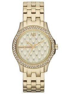 93fe9895a6d Armani Exchange Lady Hampton Champagne Quilted Dial Cyrstals AX5216 Women s  Watch Gold Plated Bracelets
