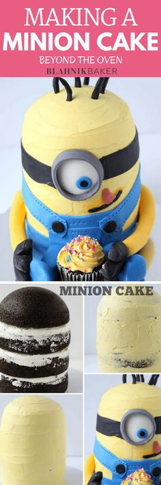 Step-by-step tutorial on making a minion cake. Uses chocolate cake recipe, vanilla buttercream frosting and fondant decorations to bring the minion to life.