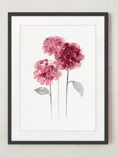 Hortensia Abstract Flowers Fine Art Print. Hydrangea Minimalist Painting GIft for Women. Pink Purple and Gray Watercolor Flower. Kitchen Art