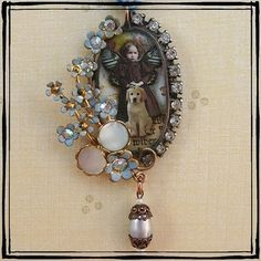 """Fairy Child and her dog"" Soldered altered art pendant"